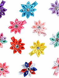 12 Pcs Hair Bows Kanzashi Pointed Petals Ribbon Flower Boutique Hair Clips Hairbows Accessories Party Favors AC013