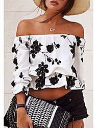 LYOU Women's Jacquard White Tops & Blouses , Vintage/Sexy/Bodycon/Party Off-the-shoulder Long Sleeve