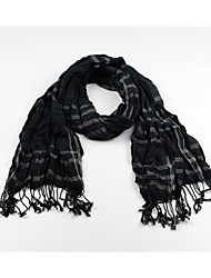 Men Classic Checked Scarf With Long Tassels