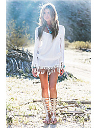 Women's Tassel/Boho Patchwork/Lace White Dress,Beach Round Neck Long Sleeve