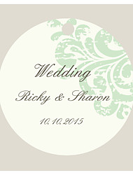 Personalized Circular Wedding Favor Tags -White & Green Flower Design (Set of 36)