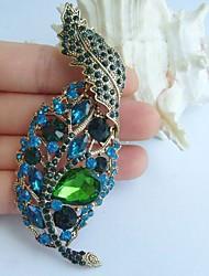 3.74 Inch Gold-tone Blue Green Rhinestone Crystal Leaf Brooch Pendant Art Decorations