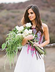 Mulheres Vestido Solto Estampado Maxi Assimétrico Chifon