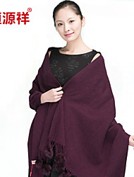 HengYuanXiang Women Long Wool Scarf Oversized Thick Tippet Upmarket Shawl With Rabbit Hair Decoration Ball, Casual/Plain