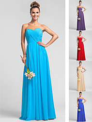 Vestido - Azul Festa de Casamento / Festa Formal / Baile Militar Linha-A Curação Longo Chiffon Tamanhos Grandes / Pequeno