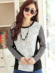 Women's Round Neck Cotton Long Sleeve Houndstooth T-shirt