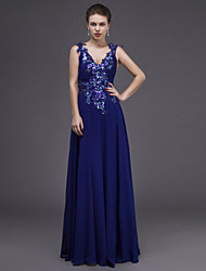 Dress - Royal Blue Sheath/Column V-neck Floor-length Chiffon