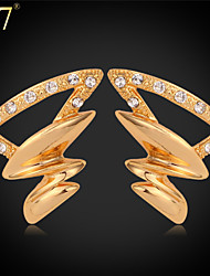 U7® Women's Tornado Shape Gold Earrings Fashion Jewelry Platinum/Gold Plated Rhinestone Cute Stud Earrings