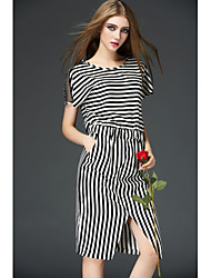 2015 Fashion Women Summer Short Sleeve O-Neck Stripe Tunic Split Dress Slim Casual Stylish One-piece
