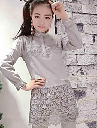 De las mujeres Camisa Escote Chino - Otro - Manga Larga