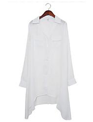 Långärmad Skjorta Kvinnors V-hals/Tröjkrage Chiffong