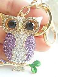 Charming Bird Owl Key Chain With Clear & Purple Rhinestone Crystals