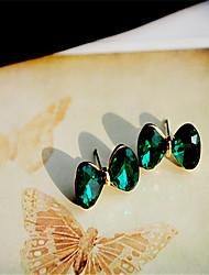 Korean Emerald Crystal Bow Earrings Cute Gemstone & Crystal Stud Earrings Hot Sale 2015