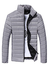 Dans Men's Stand Coats & Jackets , Cotton Blend Long Sleeve Casual