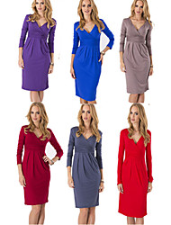 Women's V-Neck Dresses , Polyester Bodycon/Casual Long Sleeve Tracy