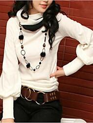 Women's Lantern sleeve High Collar Patchwork Shirt