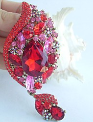 Gorgeous 4.33 Inch Gold-tone Pink Red Rhinestone Crystal Flower Brooch Women Jewelry Art Deco