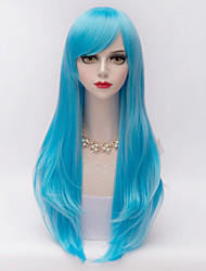 70cm Long Layered Curly Hair With Side Bang  Fluorescent Blue Heat-resistant Synthetic Harajuku Lolita  Wig For Women