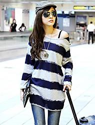 Women's Blue-Gray Wide Stripe Big Yards Long Section of Pregnant Women Long-Sleeved T-shirt