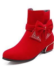 Zapatos de mujer Semicuero Tacón Robusto Punta Redonda Botas Casual Negro/Azul/Rojo