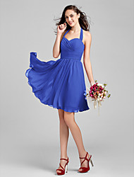 Lanting Bride® Knee-length Chiffon Bridesmaid Dress - A-line Halter Plus Size / Petite with Criss Cross / Ruching