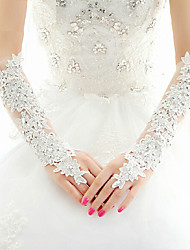 Lace Fingerless Elbow Length Wedding/Party Glove With Crystals Rhinestones