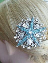 Bridal Hair Accessories Silver-tone Blue Clear Rhinestone Crystal Starfish Bridal Hair Comb Wedding Headpiece