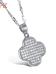 OPK®AAA Zirconium Sexy Vacuum Plating Platinum Necklace Lucky Clover