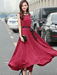 Women's Round Neck  , Silk Maxi Sleeveless,Dress