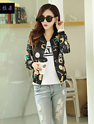 Women's V Neck Flower Short coat Blouse Baseball movement clothing  , Spandex/Polyester Long Sleeve