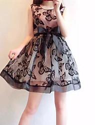 vestido de design decote, vestido de tecido de comprimento comprimento da manga das mulheres