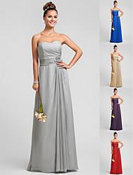 Vestido de Dama de Honor - Plata Corte Recto Escote Corazón - Hasta el Suelo Gasa Tallas grandes