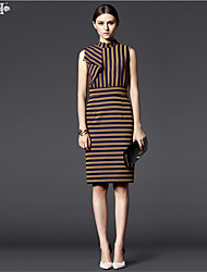 New Fashion!High-quality Summer CasualStand Neckline Design Sleeveless Striped Dress  Feminine Knee-length  Step Skirt