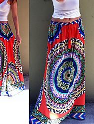 Faldas ( Algodón / Rayón viscosa )- Playa / Casual Tiro Medio Corte Ancho para Mujer