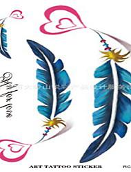 10 Pcs Love Heart Feather Temp Tattoo Stickers
