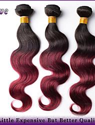 "3pcs / lot 10 ""-26"" ombre Menschenhaarverlängerungen t1b / bordeaux malaysische reine Haarkörperwelle Haarbündel beste Qualität"