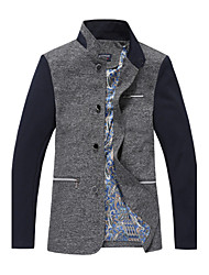 Men's Long Sleeve Regular Blazer , Cotton / Microfiber Pure Collar men's clothing Business men's clothing