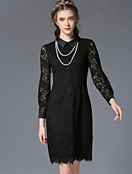 Women's Shirt Collar Pocket/Button/Lace Dress , Polyester Above Knee Long Sleeve Sexy Lace Dress , Night Party Dress