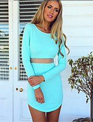 Women's Vintage Sexy Bodycon Casual  Long Sleeve Mini Dress , Polyester