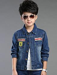 Boy's Ribbon Patch Wild Fashion Denim Jacket, Winter/Fall