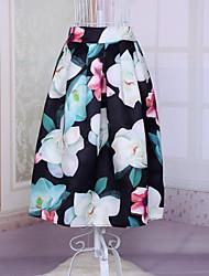 Women's European Style Retro Polyester Printed Skirt