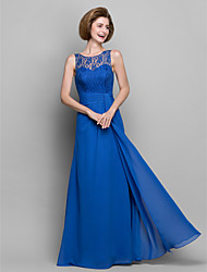 Sheath / Column Mother of the Bride Dress Floor-length Sleeveless Chiffon with Lace