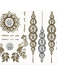 2015 New India Metallic Flash Tatoo Temporary Stickers Waterproof Sexy Tattoo Body Art\Leaves VS Pendants\Fake Tattooing