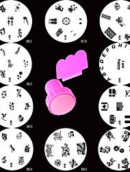 10Style Nail Art Stamping Plate Stamp Template & Metal Scraping Scraper Tool