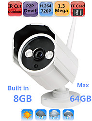 Waterproof HD IP Camera Outdoor Security 720P P2P Wifi IR Night Vision Onvif 64GB SD Card Max