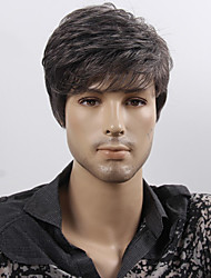 Capless High Quality Synthetic Short Straight Dark Brown Man'S Wigs