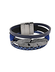 Fashion Women Feather Decorated Magnet Buckle Leather Bracelet