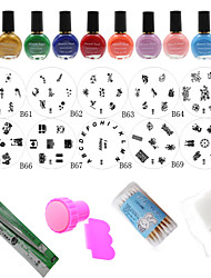 DIY Polish Print Manicure Stainless Stencil Template Stamper Nail Tools(24Pcs/Set)