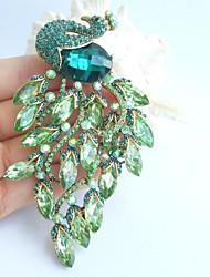 Wedding 4.13 Inch Gold-tone Green Rhinestone Crystal Peacock Brooch Art Decorations