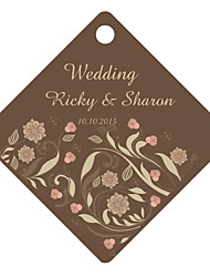 Personalized Rhombus Wedding Favor Tags - Brown Design (Set of 36)